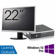 Pachet Calculator HP 8300 USDT, Intel Core i3-3220 3.30GHz, 4GB DDR3, 500GB SATA, DVD-RW + Monitor 22 Inch + Windows 10 Pro