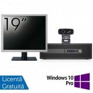 Pachet Calculator HP 800 G2 SFF, Intel Core i5-6500 3.20GHz, 8GB DDR4, 240GB SSD + Monitor 19 Inch + Webcam + Tastatura si Mouse + Windows 10 Pro