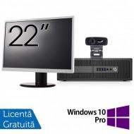 Pachet Calculator HP 800 G2 SFF, Intel Core i5-6500 3.20GHz, 8GB DDR4, 240GB SSD + Monitor 22 Inch + Webcam + Tastatura si Mouse + Windows 10 Pro