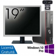 Pachet Calculator Fujitsu Esprimo D756 SFF, Intel Core i3-6100 3.10GHz, 4GB DDR4, 500GB SATA, DVD-RW + Monitor 19 Inch + Webcam + Tastatura si Mouse + Windows 10 Pro