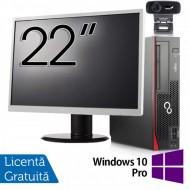 Pachet Calculator Fujitsu Esprimo D756 SFF, Intel Core i5-6400T 2.20GHz, 8GB DDR4, 120GB SSD, DVD-RW + Monitor 22 Inch + Webcam + Tastatura si Mouse + Windows 10 Pro
