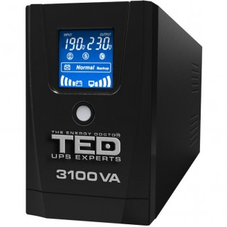 UPS TED Line Interactive 3100VA/1800W, display LCD, 3 x Schuko